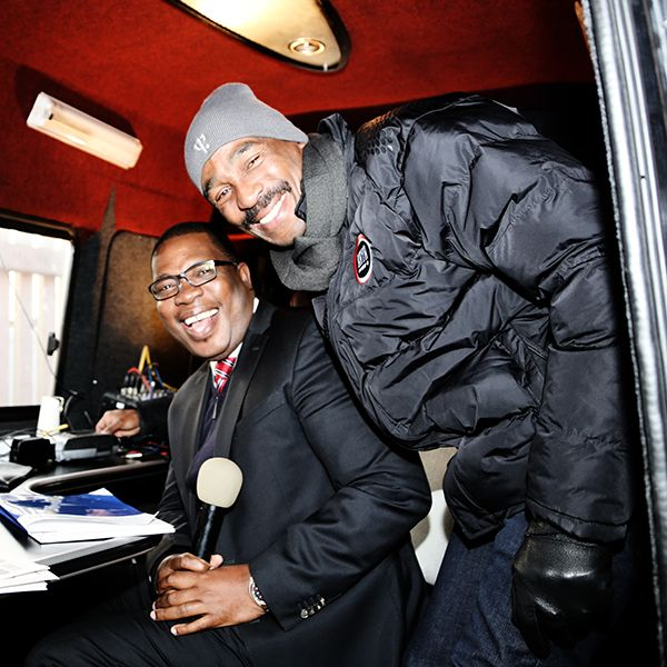 Panyaza Lesufu (MEC Education Gauteng) with Bob Mabena (Radio presenter KayaFM)